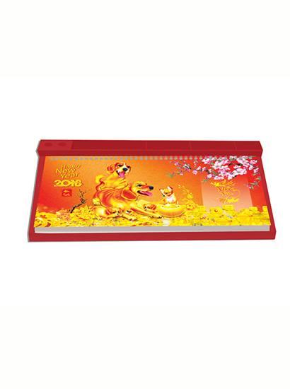 Lịch bàn đế nhựa màu đỏ lò xo trên