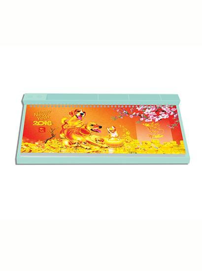 Lịch bàn đế nhựa màu xanh lò xo trên